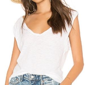 Free People White Cleo Tee - L
